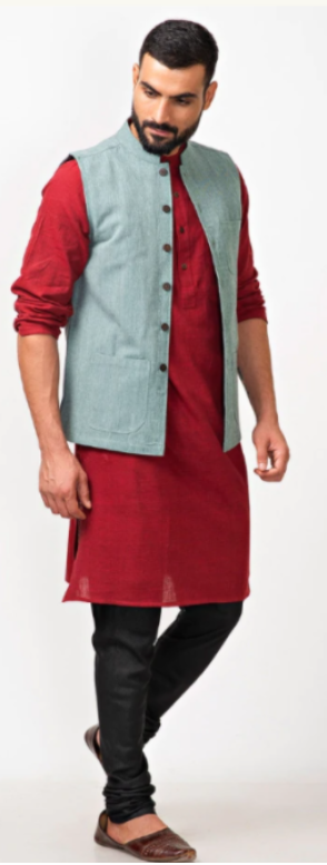Ethnic jacket, kurta, and denim