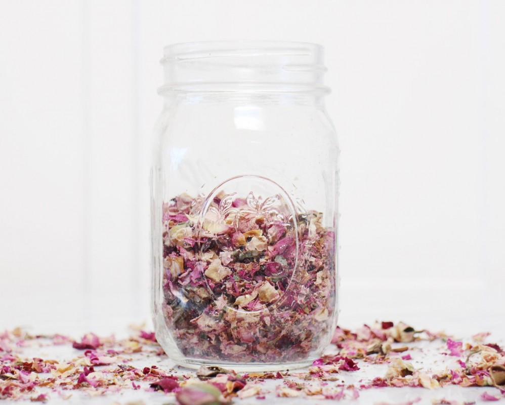 rose petals and coconut oil